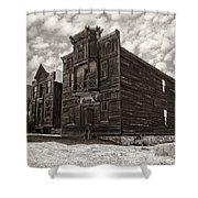 Elkhorn Ghost Town Public Halls 3 - Montana Shower Curtain by Daniel Hagerman