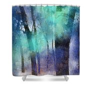 Enchanted Forest. Painting With Light Shower Curtain by Jenny Rainbow