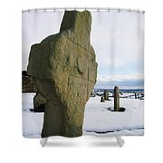 Errigal Keerouge Cross, St Kierans Shower Curtain by The Irish Image Collection