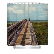 Evening Walk To The Beach Shower Curtain by Toni Hopper