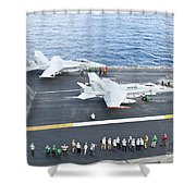 Fa-18 Aircraft Prepare To Take Shower Curtain by Stocktrek Images