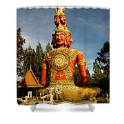 Faces Of Buddha Shower Curtain by Adrian Evans