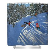 Falling Off The Sledge Shower Curtain by Andrew Macara