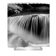 Falling Water Black And White Shower Curtain by Rich Franco