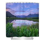 False Hellebore Surrounded Pond Shower Curtain by Tim Fitzharris