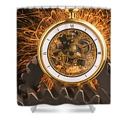 Fancy Pocketwatch On Gears Shower Curtain by Garry Gay