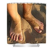 Feet Of A Child In The Sand Shower Curtain by Matthias Hauser