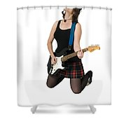 Female Guitarist Jumps  Shower Curtain by Ilan Rosen