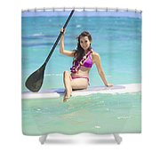 Female Paddler II Shower Curtain by Tomas del Amo