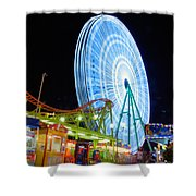 Ferris wheel at night Shower Curtain by Stylianos Kleanthous