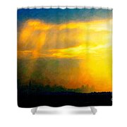 Fire In The City Shower Curtain by Wingsdomain Art and Photography
