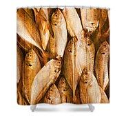 Fish Pattern On Wood Shower Curtain by Setsiri Silapasuwanchai