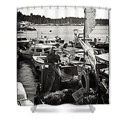 Fisherman Shower Curtain by Madeline Ellis