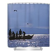 Fishermen Pulling Fishing Nets On Small Shower Curtain by Axiom Photographic