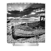 Fishing Boat Graveyard Shower Curtain by Meirion Matthias