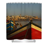 Fishing Boats In Front Of Kasbah Des Shower Curtain by Axiom Photographic
