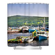 Fishing Boats In Newfoundland Shower Curtain by Elena Elisseeva