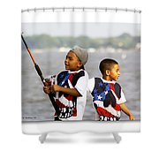Fishing Brothers Shower Curtain by Brian Wallace