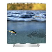 Fishing Lure In Use Shower Curtain by Meirion Matthias