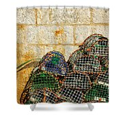 fishing traps Shower Curtain by Carlos Caetano