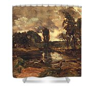 Flatford Mill From The Lock Shower Curtain by John Constable