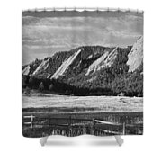 Flatirons From Chautauqua Park Bw Shower Curtain by James BO  Insogna