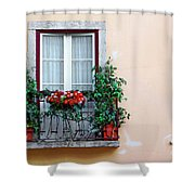 Flowery Balcony Shower Curtain by Carlos Caetano