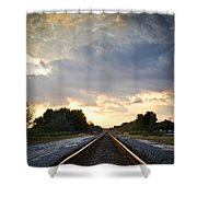 Follow The Tracks Shower Curtain by Carolyn Marshall