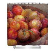 Food - Peaches - Farm fresh peaches  Shower Curtain by Mike Savad