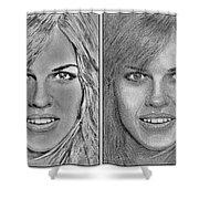 Four Interpretations Of Hilary Swank Shower Curtain by J McCombie