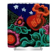 Fowers At Night Shower Curtain by Genevieve Esson