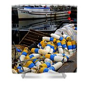 French Creek Trawlers Shower Curtain by Bob Christopher