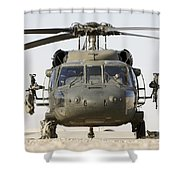 Front View Of A Uh-60l Black Hawk Shower Curtain by Terry Moore