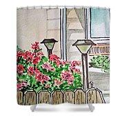 Front Yard Lights Sketchbook Project Down My Street Shower Curtain by Irina Sztukowski