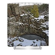 Frozen Sink Hole Shower Curtain by Roderick Bley