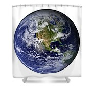 Full Earth Showing North America White Shower Curtain by Stocktrek Images