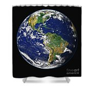 Full Earth Showing The Western Shower Curtain by Stocktrek Images