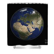 Full Earth View Showing Africa, Europe Shower Curtain by Stocktrek Images