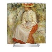 Gabrielle In A Straw Hat Shower Curtain by Pierre Auguste Renoir