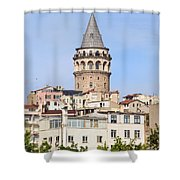 Galata Tower In Istanbul Shower Curtain by Artur Bogacki