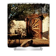Gate To Cowboy Heaven In Old Tuscon Az Shower Curtain by Susanne Van Hulst