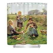 Gathering Flowers Shower Curtain by Joseph Julien