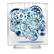 Gears Wheels Design  Shower Curtain by Setsiri Silapasuwanchai