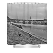 Geese Along The Schuylkill River Shower Curtain by Bill Cannon
