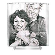 Gene And Majel Roddenberry Shower Curtain by Murphy Elliott