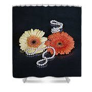 Gerberas With Pearls Shower Curtain by Joana Kruse