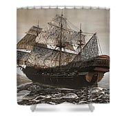 Ghost Ship Of The Cape Shower Curtain by Lourry Legarde
