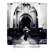 Girl In The Church Shower Curtain by Jenny Rainbow