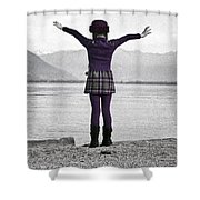 Girl On The Shores Of Lake Maggiore Shower Curtain by Joana Kruse