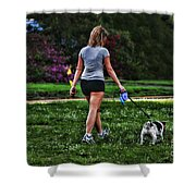 Girl Walking Dog Shower Curtain by Paul Ward
